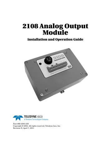 2108 Analog Output Module User Manual - Isco