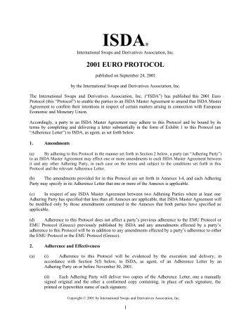 Protocol For Csa Isda