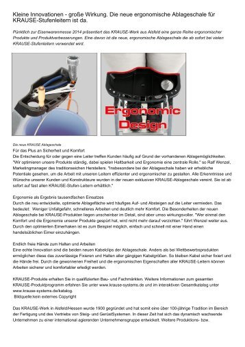Kleine Innovationen - große Wirkung. Die neue ergonomische Ablageschale für KRAUSE-Stufenleitern ist da.