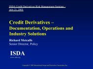 Credit derivatives - documentation, operations, and industry - ISDA