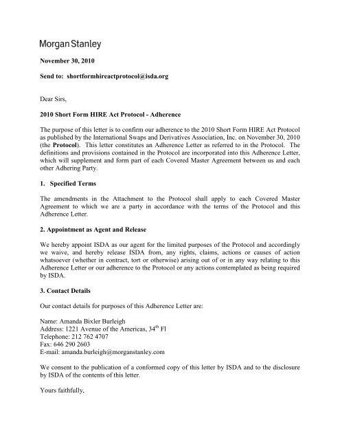 morgan stanley & co  international plc - ISDA