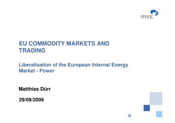 the liberalization of europes electricity market essay Period before market liberalization through eu accession 22 the dynamic development was a result of the offer of new services by new carriers on the polish market.