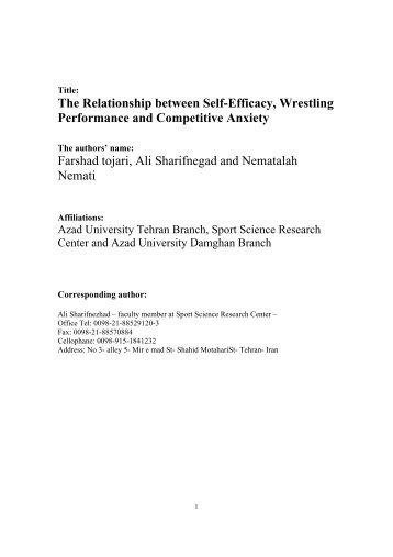The Relationship between Self-Efficacy, Wrestling ... - Isdy.net