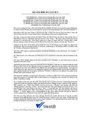 SILVER BIRCH CLO I B.V. - Irish Stock Exchange