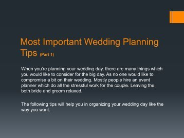 Most Important Wedding Planning Tips (Part 1)