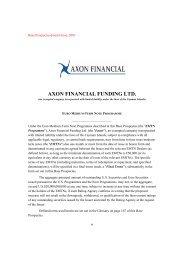 AXON FINANCIAL FUNDING LTD. - Irish Stock Exchange