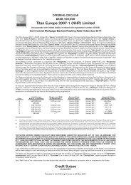 Titan Europe 2007-1 (NHP) Limited - Irish Stock Exchange