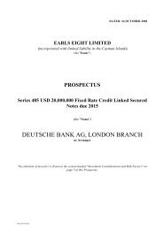 DEUTSCHE BANK AG, LONDON BRANCH - Irish Stock Exchange