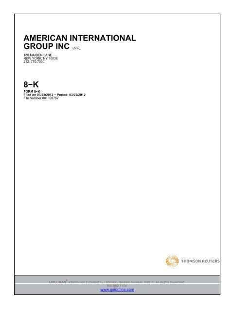 american international group inc (aig) 8−k - Irish Stock Exchange