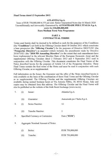 Final Terms dated 13 September 2012 ATLANTIA SpA Issue of EUR ...