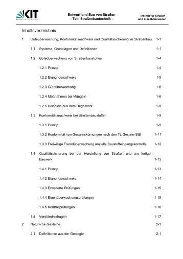 Inhaltsverzeichnis - Institut für Straßen- und Eisenbahnwesen