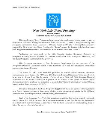 New York Life Global Funding - Irish Stock Exchange