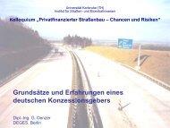 Grundsätze und Erfahrungen eines deutschen Konzessionsgebers