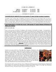 casablanca, morocco arrive: saturday 07 august 0800 depart
