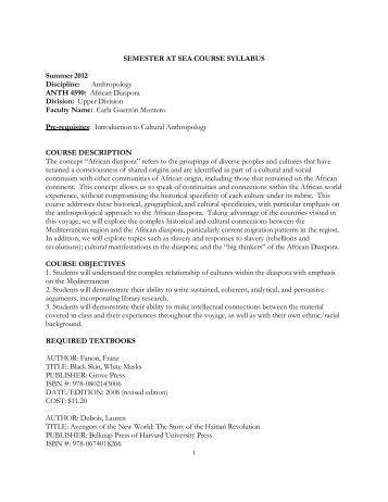 SEMESTER AT SEA COURSE SYLLABUS - University of Virginia