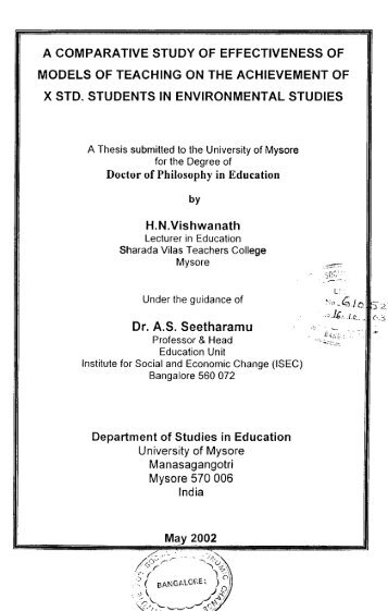 A comparative study of effectiveness of models of teaching on the ...