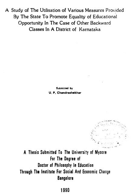 A Thesis Submitted To The University of Mysore For The