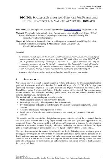 digido: scalable systems and services for preserving digital ... - ISEing