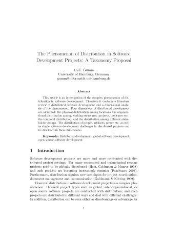 The Phenomenon of Distribution in Software Development ... - ISEing
