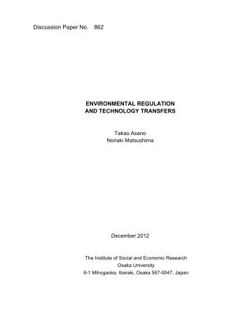 Environmental Regulation and Technology ... - Osaka University