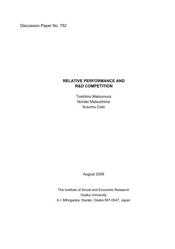 Relative Performance and R&D Competition - Osaka University