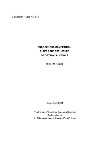 Endogenous Competition Alters the Structure of ... - Osaka University