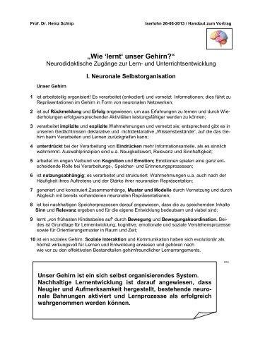 """Prof. Dr. Heinz Schirp: """"Wie 'lernt' unser Gehirn?"""" - Iserlohn"""
