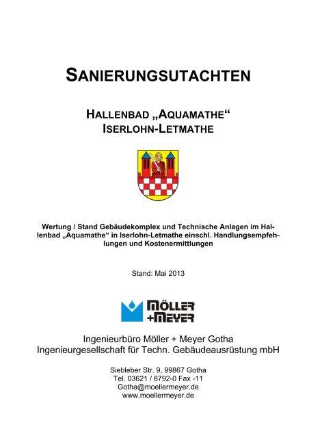 """sanierungsutachten hallenbad """"aquamathe"""" iserlohn-letmathe"""