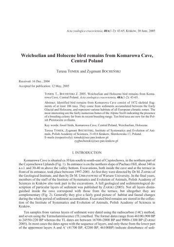 Weichselian and Holocene bird remains from Komarowa Cave