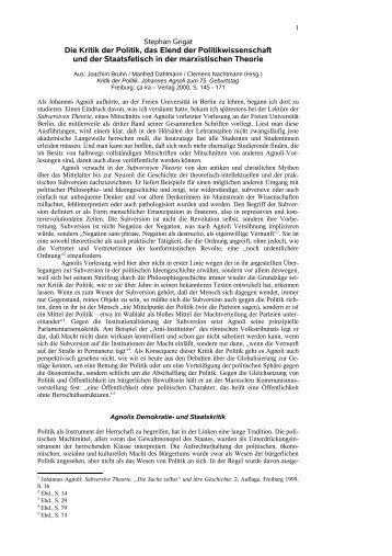 Die Kritik der Politik, das Elend der Politikwissenschaft und der ...