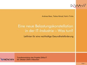 Eine neue Belastungskonstellation in der IT-Industrie ... - diwa - it