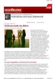 Individuum und neue Arbeitswelt Zeitenwende im Büro - ISF München