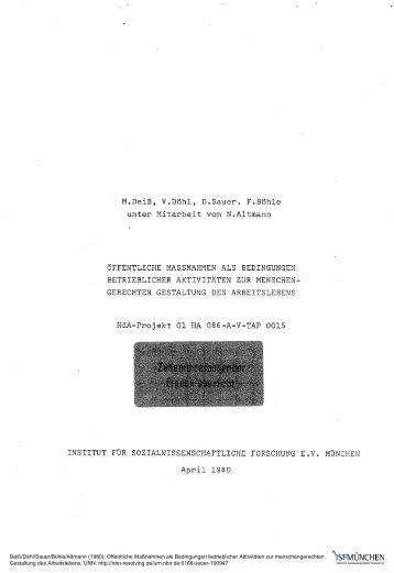 Öffentliche Maßnahmen als Bedingungen betrieblicher ... - SSOAR