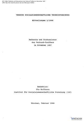 Referate und Diskussionen des Verbund-Treffens im ... - ISF München