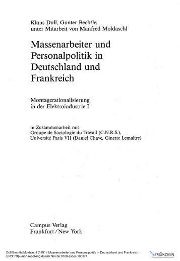 Massenarbeiter und Personalpolitik in Deutschland ... - ISF München