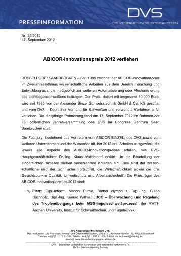ABICOR-Innovationspreis 2012 verliehen - (ISF) der RWTH Aachen ...