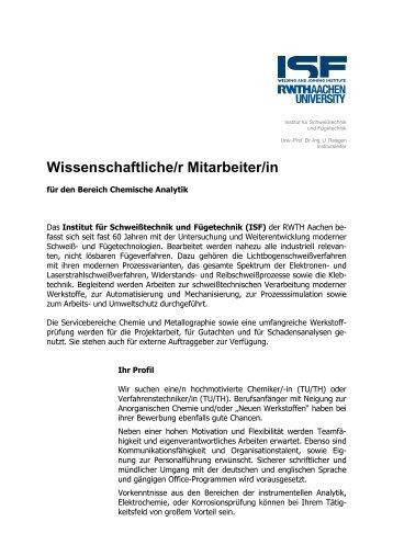 2010-06-17 Ausschreibung Chemiker - Institut für Schweißtechnik ...