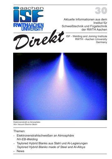 Themen: - Elektronenstrahlschweißen an Atmosphäre Taylored ...