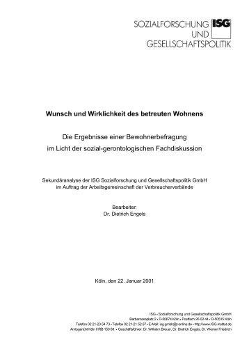 Wunsch und Wirklichkeit des betreuten Wohnens Die ... - ISG