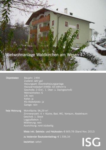 Mietwohnanlage Waldkirchen am Wesen 47 - ISG