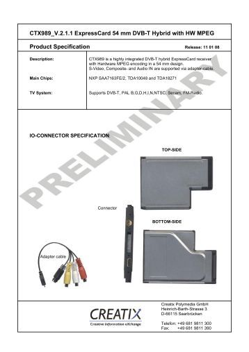 CTX989 V2-1-1 Express Card Hybrid - creatix