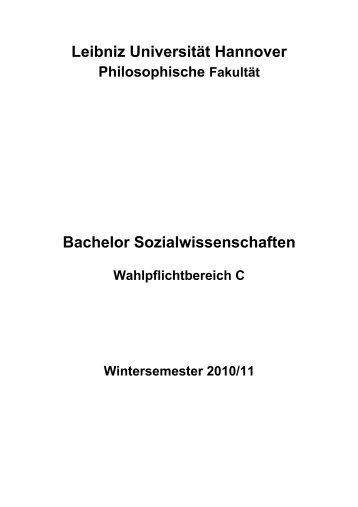 Leibniz Universität Hannover Bachelor Sozialwissenschaften