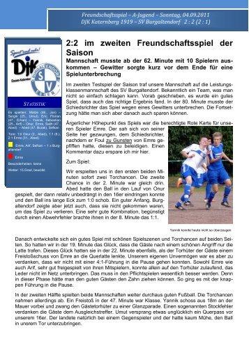 2:2 im zweiten Freundschaftsspiel der Saison - DJK Essen ...