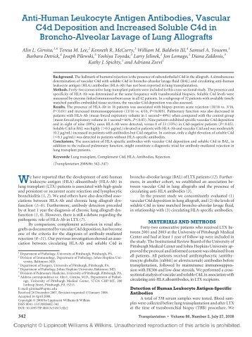 Anti-Human Leukocyte Antigen Antibodies, Vascular C4d ...