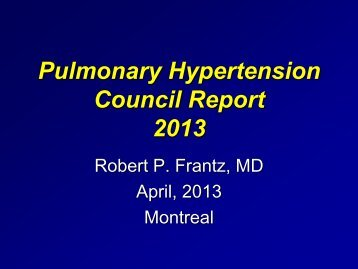 Pulmonary Hypertension Council Report 2013 - The International ...