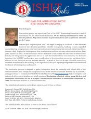 2013 call for nominations to the ishlt board of directors