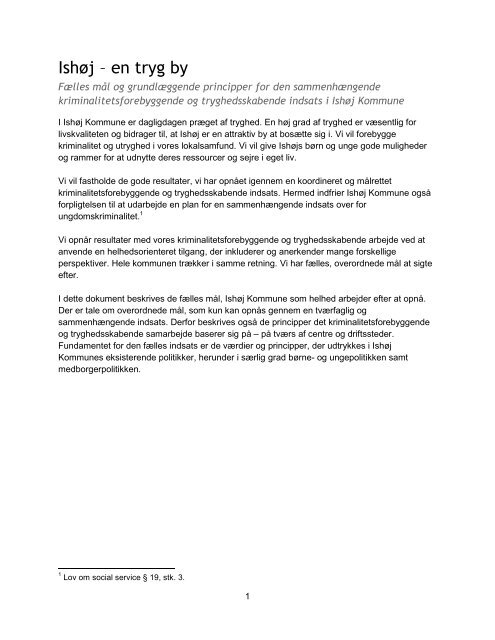 Plan for forebyggelse af kriminalitet blandt børn og ... - Ishøj Kommune