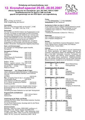 Ausschreibung 12. Kronshof-special