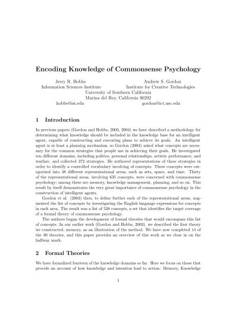 Encoding Knowledge of Commonsense Psychology - CiteSeerX