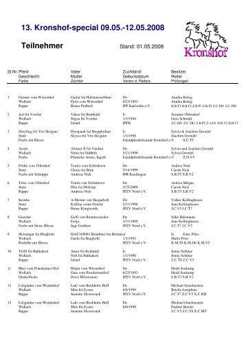 Teilnehmerliste - Islandpferdegestüt Kronshof